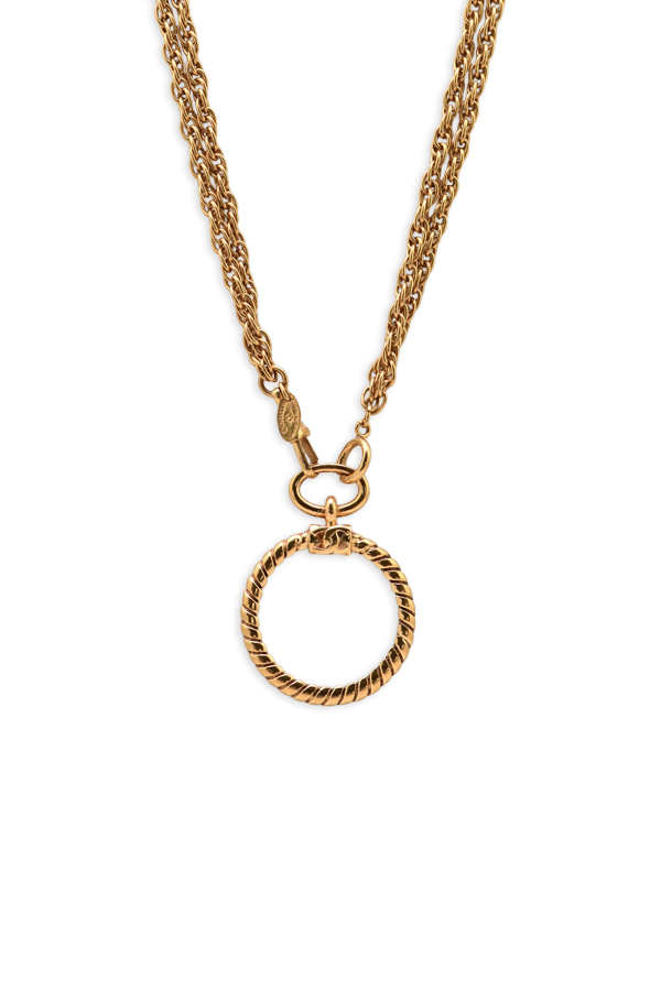 Chanel - Vintage Double Chain Glass Pendant Necklace View 2