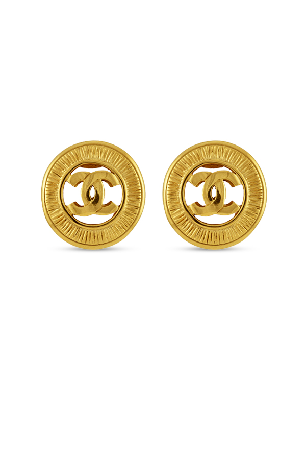 Chanel - Vintage CC Logo Circular Clip On Earrings