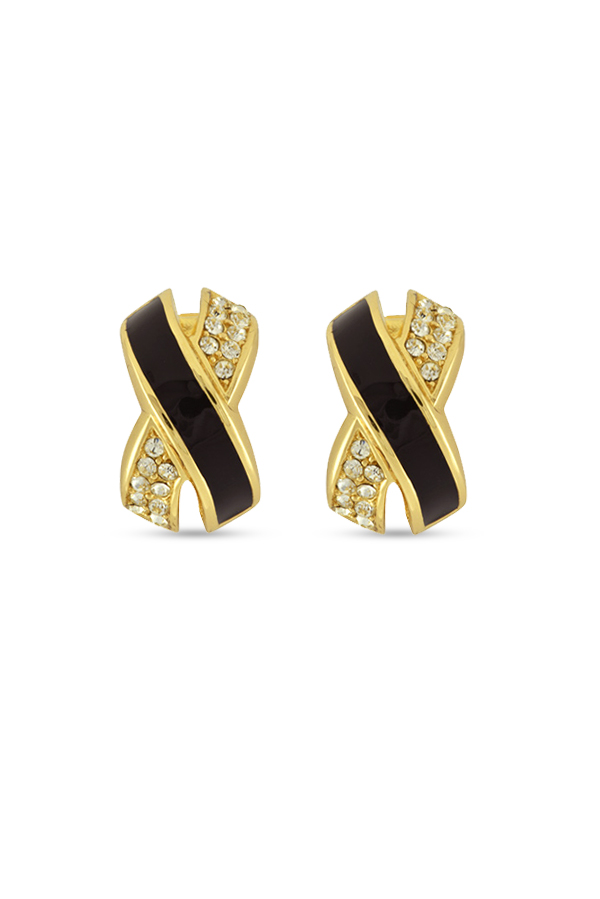 Christian Dior - Crisscross Enamel And Crystal Clip On Earrings View 1