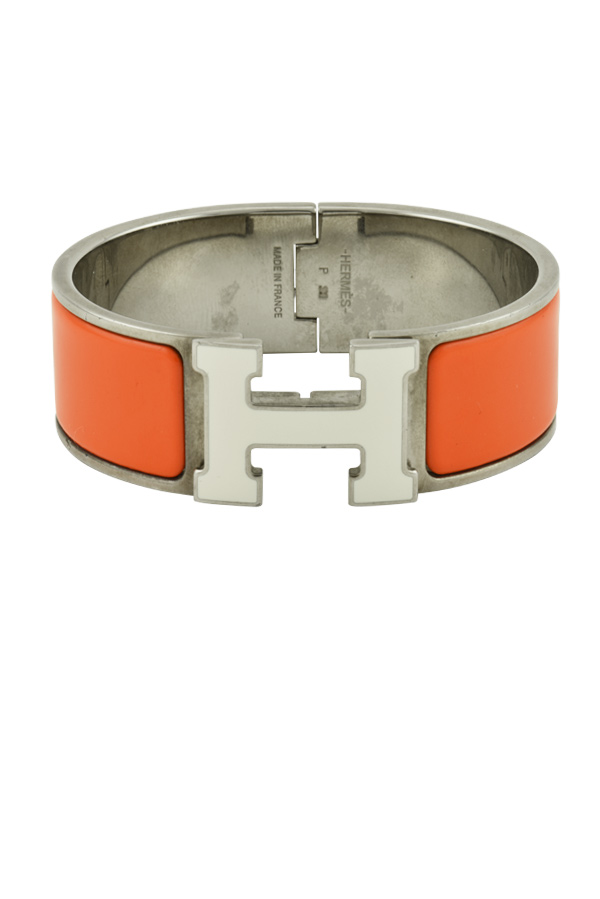 Hermes - Wide Clic Clac H Bracelet (Orange and White/Palladium Plated) - PM
