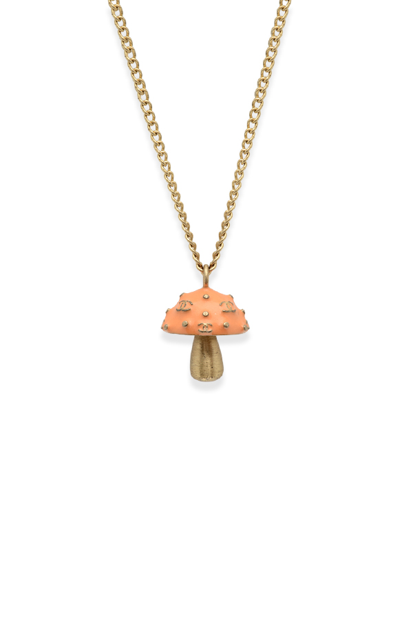 Chanel - Logo Embossed Enamel Mushroom Charm Pendant Necklace