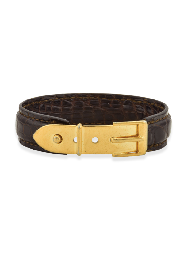 Gucci - Vintage Narrow Logos Python Bangle (Dark Brown)