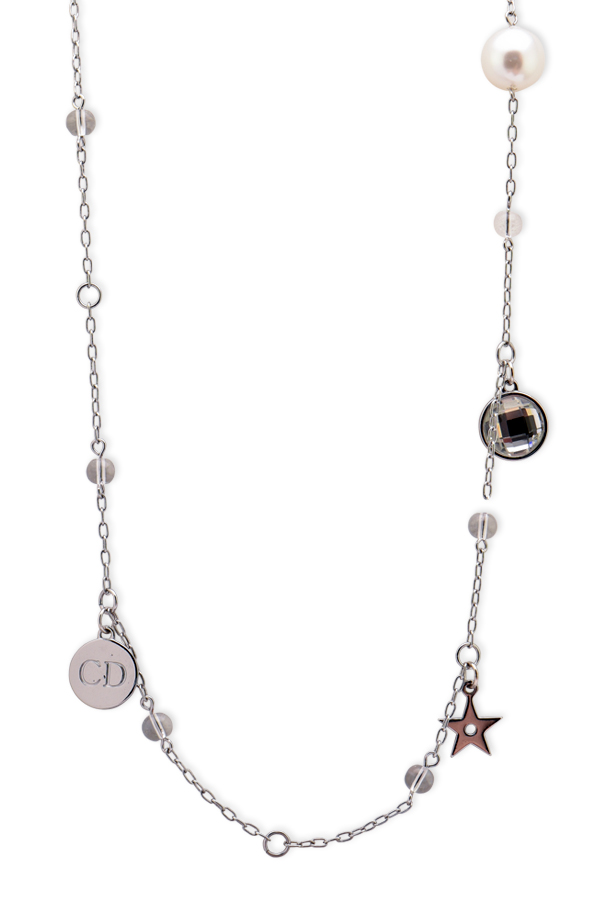 Christian Dior -  Short Crystal & Faux Pearl Charm Station Necklace
