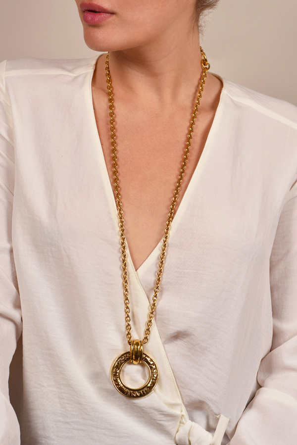 Chanel - Vintage Paris Loupe Pendant Necklace on Long Link Chain