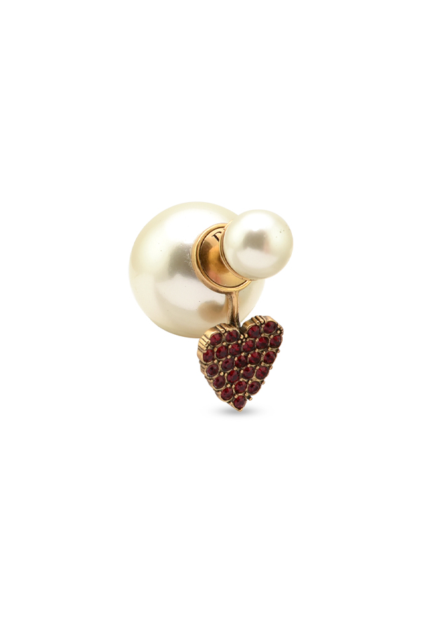 Christian Dior - Faux Pearl Red Heart Tribales Earring