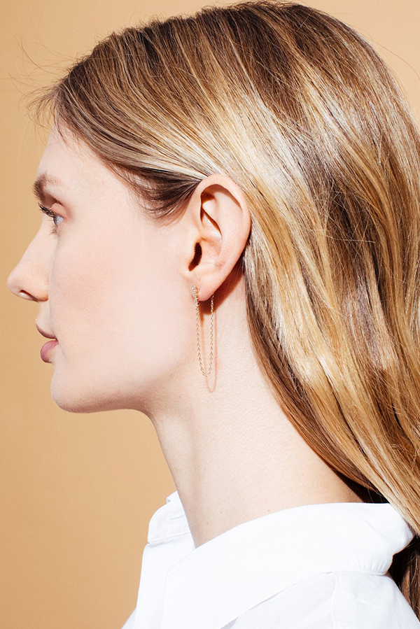 Sophie Ratner - Five Diamond and Chain Earrings (Rose Gold)