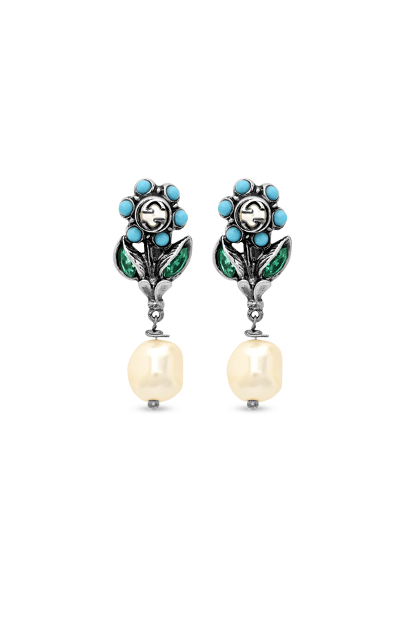 Gucci - Blue and Silver Flower Logo Earrings