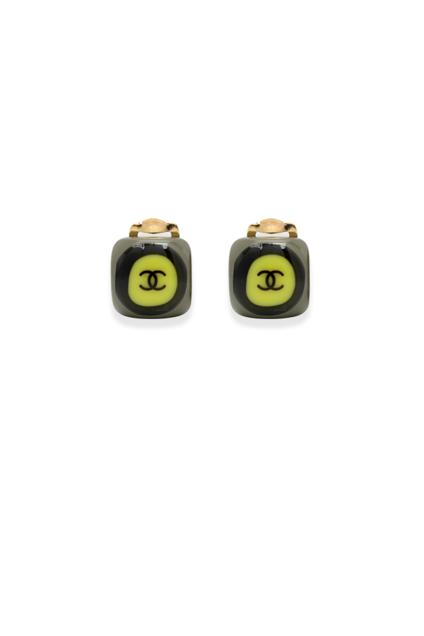 Chanel - Vintage Small Square Resin Grey Clip On Earrings