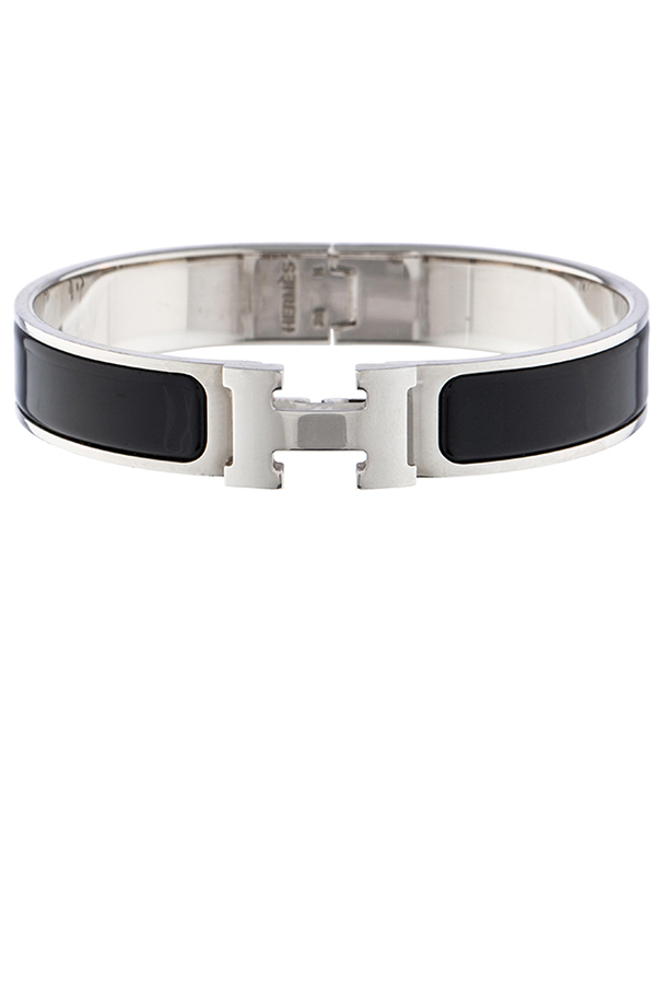 Hermes - Narrow Clic H Bracelet (Black/Palladium Plated)