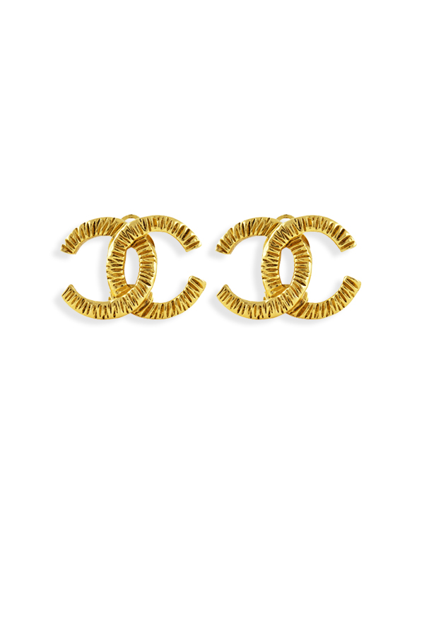 Chanel - Textured Gold Tone CC Logo Clip Ons View 1